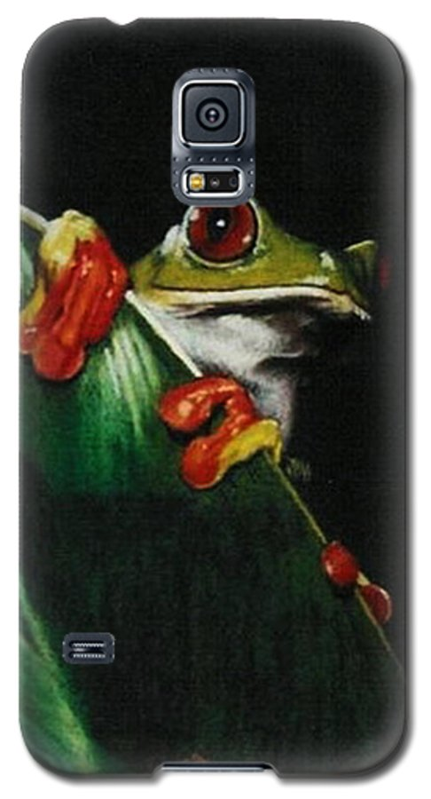 Frog Galaxy S5 Case featuring the drawing Peek-a-boo by Barbara Keith