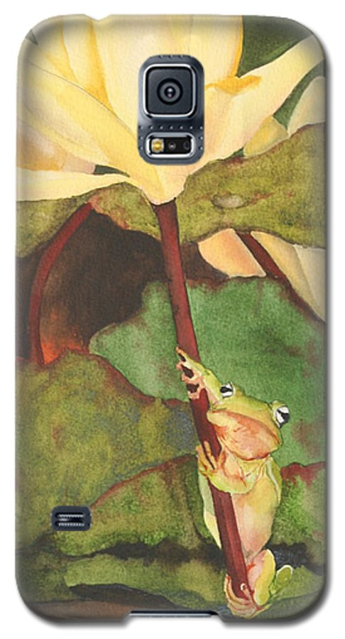 Frog Galaxy S5 Case featuring the painting Peeping Tom by Jean Blackmer