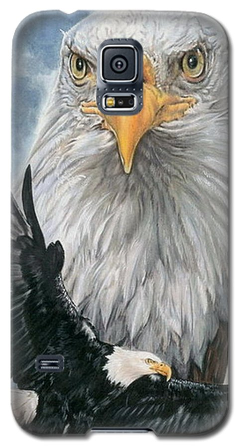 Bald Eagle Galaxy S5 Case featuring the mixed media Peerless by Barbara Keith