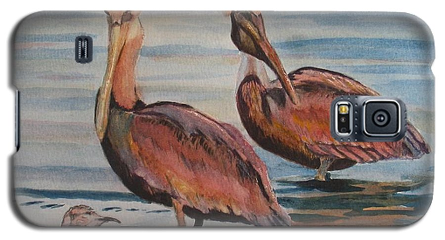 Pelicans Galaxy S5 Case featuring the painting Pelican Party by Karen Ilari