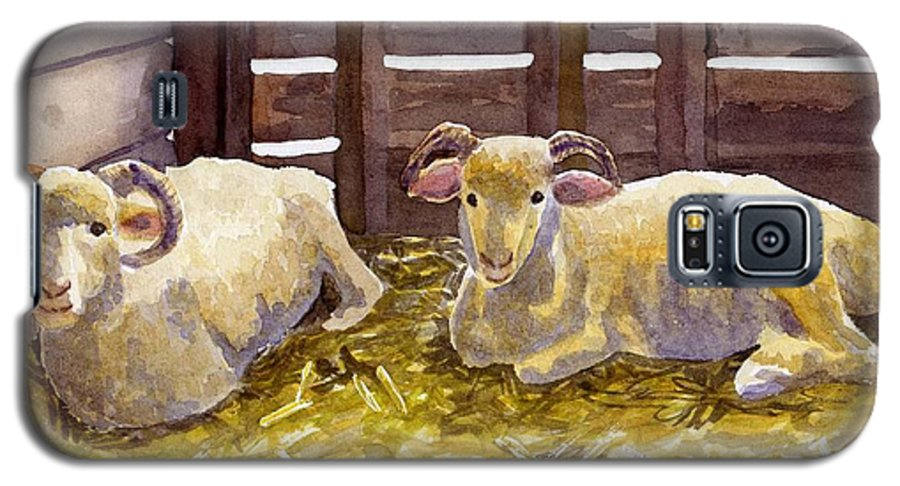 Sheep Galaxy S5 Case featuring the painting Pen Pals by Sharon E Allen