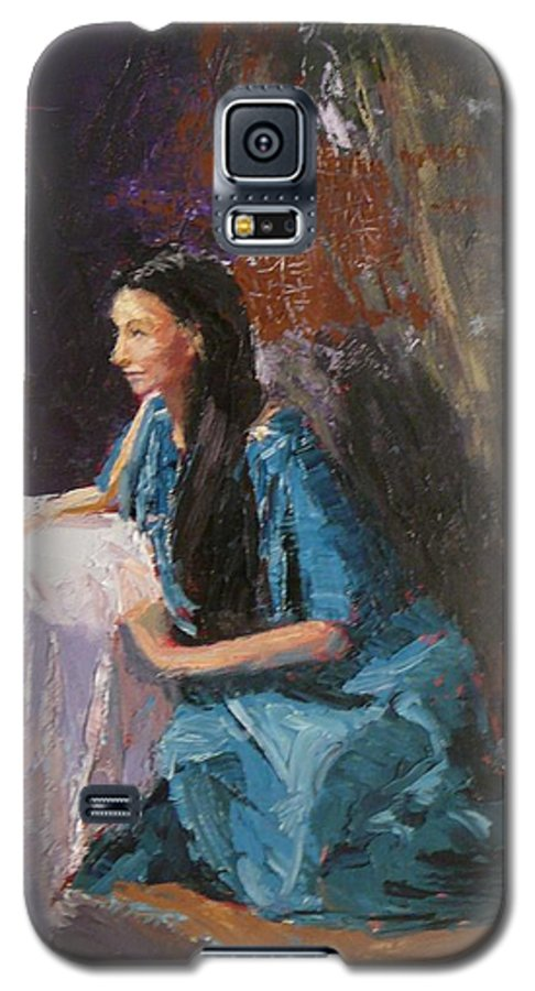 Sitting Woman Galaxy S5 Case featuring the painting Penelope by Irena Jablonski