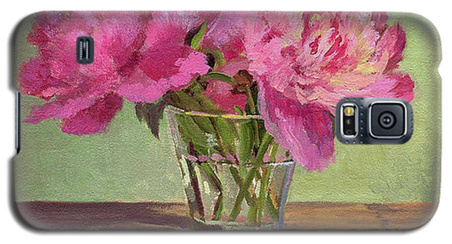Still Galaxy S5 Case featuring the painting Peonies In Tumbler by Keith Burgess