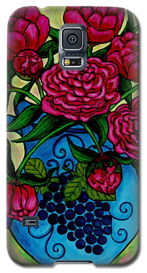 Peonies Galaxy S5 Case featuring the painting Peony Party by Lisa Lorenz