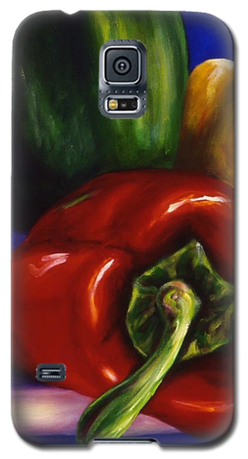 Still Life Galaxy S5 Case featuring the painting Peppers On Peppers by Shannon Grissom