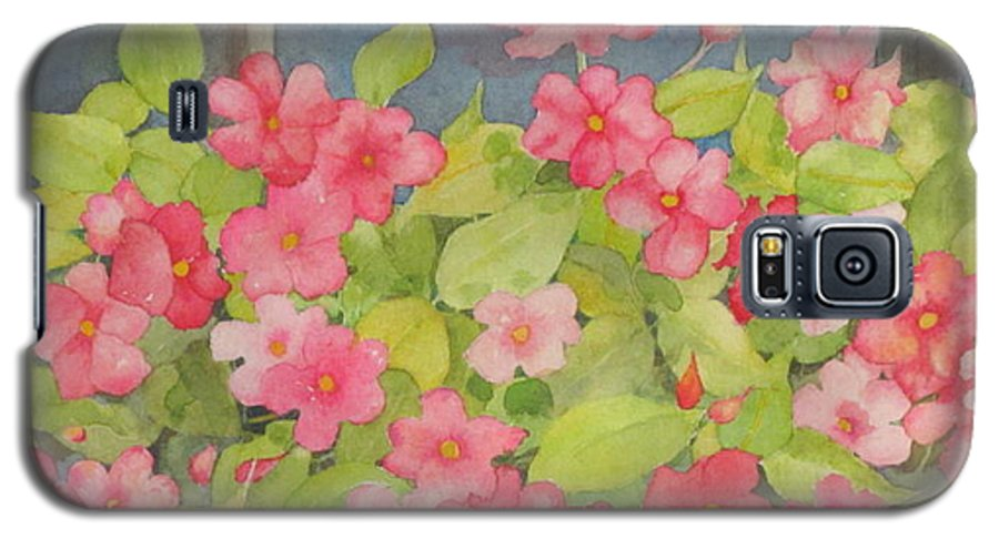 Flowers Galaxy S5 Case featuring the painting Perky by Mary Ellen Mueller Legault