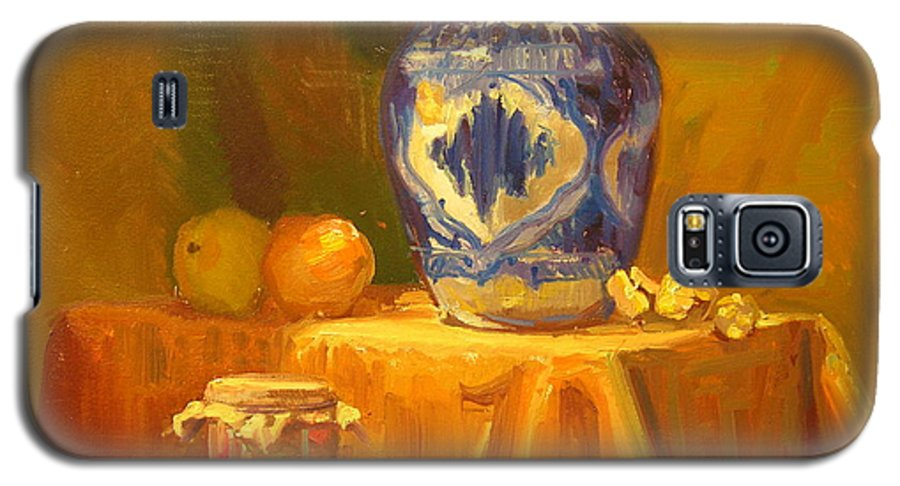 Still Life Galaxy S5 Case featuring the painting Persian Vase And Fruit Jar by David Dozier