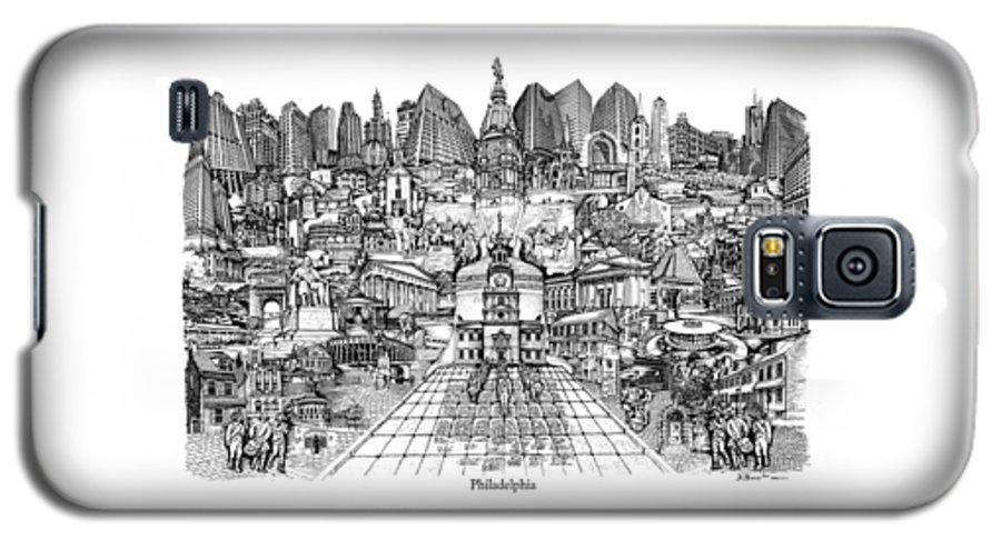 City Drawing Galaxy S5 Case featuring the drawing Philadelphia by Dennis Bivens