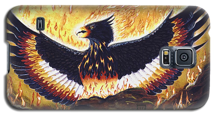 Phoenix Galaxy S5 Case featuring the painting Phoenix Rising by Melissa A Benson