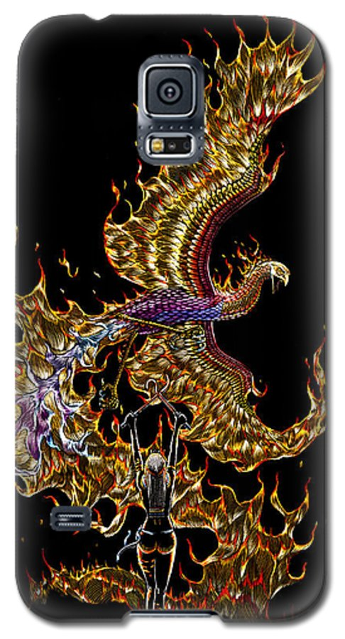 Phoenix Galaxy S5 Case featuring the drawing Phoenix by Stanley Morrison