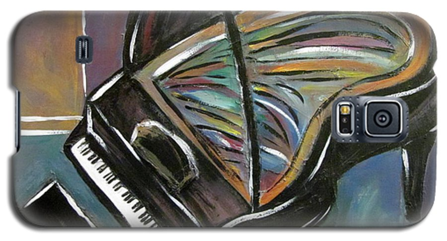 Impressionist Galaxy S5 Case featuring the painting Piano With High Heel by Anita Burgermeister
