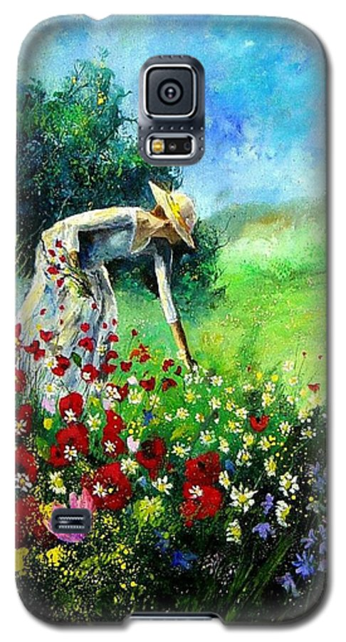 Poppies Galaxy S5 Case featuring the painting Picking Flower by Pol Ledent