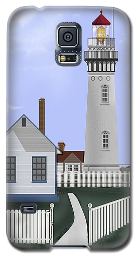 Lighthouse Galaxy S5 Case featuring the painting Pigeon Point Lighthouse California by Anne Norskog