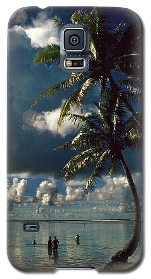 Island; Paradise; Beach; Palms; Palm; Palm Trees; Calm Water; Tropical; Swimmers; Vacation; Ideal; T Galaxy S5 Case featuring the photograph Pigeon Point On Tobago by Carl Purcell