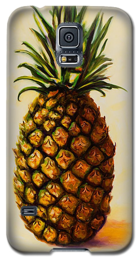Pineapple Galaxy S5 Case featuring the painting Pineapple Angel by Shannon Grissom