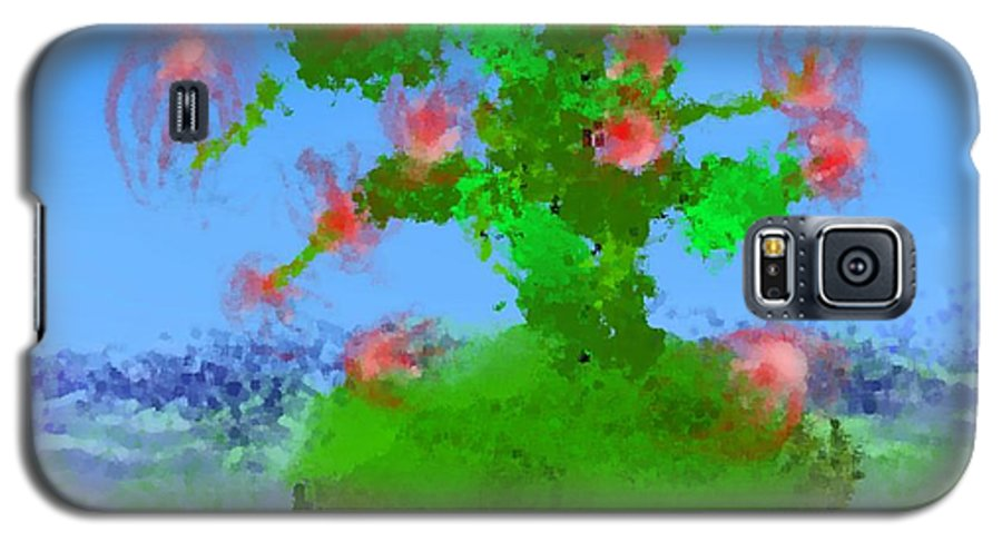 Landscape.sea.birds.island.sky.tree .rest Stop.wave.wind. Galaxy S5 Case featuring the digital art Pink Birds Ongreen Island by Dr Loifer Vladimir