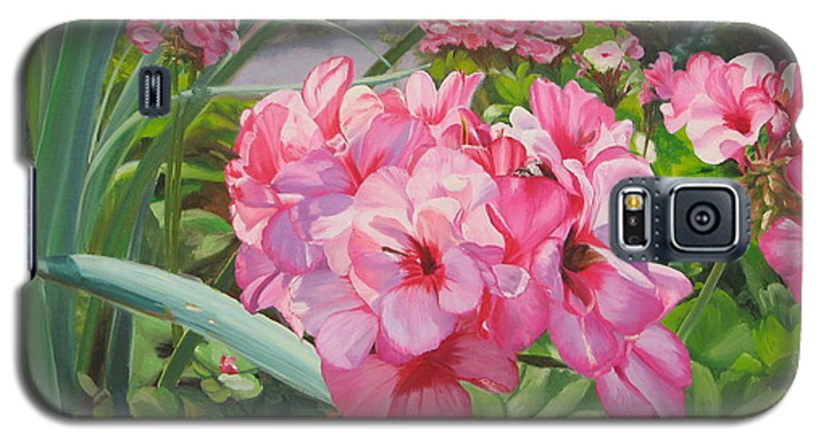Pink Geraniums Galaxy S5 Case featuring the painting Pink Geraniums by Lea Novak