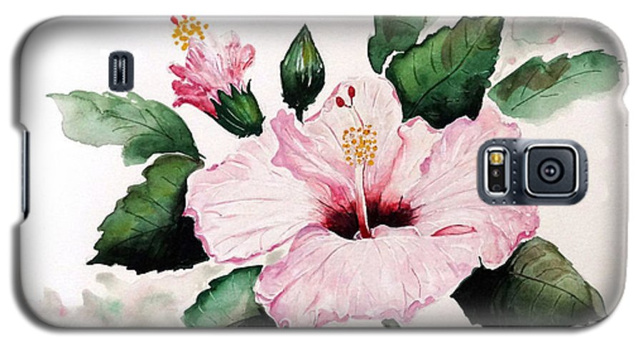 Hibiscus Painting  Floral Painting Flower Pink Hibiscus Tropical Bloom Caribbean Painting Galaxy S5 Case featuring the painting Pink Hibiscus by Karin Dawn Kelshall- Best