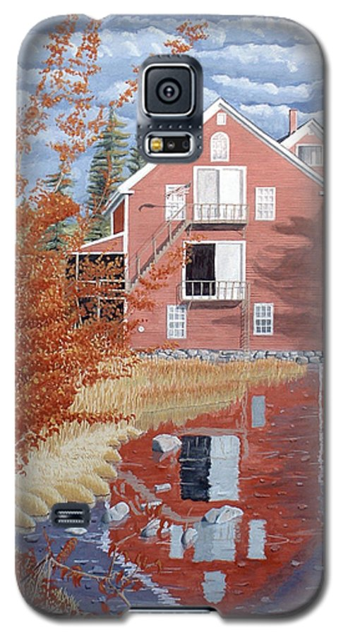 Autumn Galaxy S5 Case featuring the painting Pink House In Autumn by Dominic White
