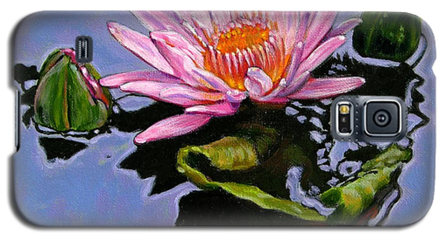 Water Lily Galaxy S5 Case featuring the painting Pink Lily With Dancing Reflections by John Lautermilch