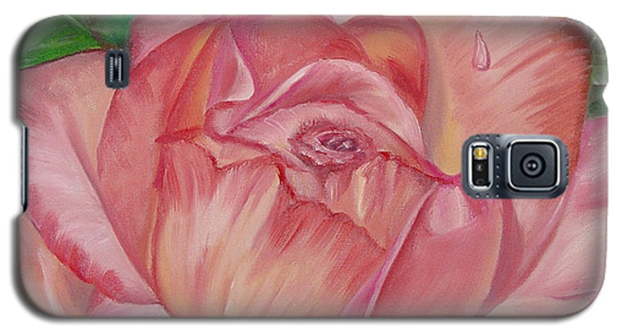 Flower Galaxy S5 Case featuring the painting Pink Rose by Quwatha Valentine