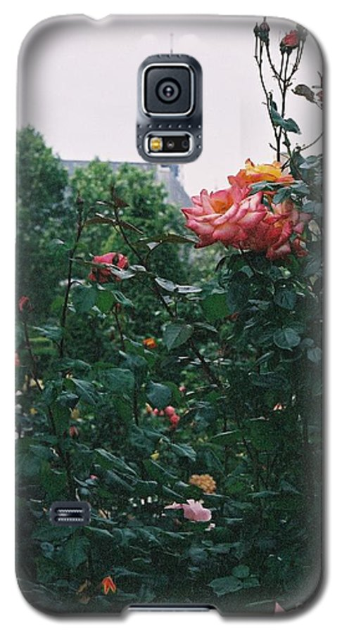 Roses Galaxy S5 Case featuring the photograph Pink Roses And The Eiffel Tower by Nadine Rippelmeyer