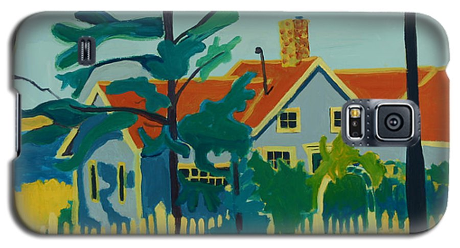 Beach Galaxy S5 Case featuring the painting Pinkys House On Monhegan by Debra Bretton Robinson