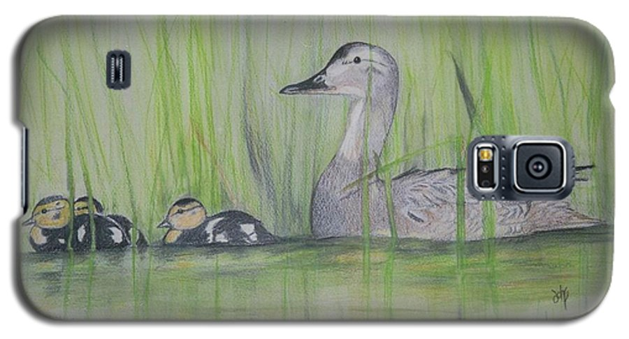 Pintail Ducks Galaxy S5 Case featuring the painting Pintails In The Reeds by Debra Sandstrom