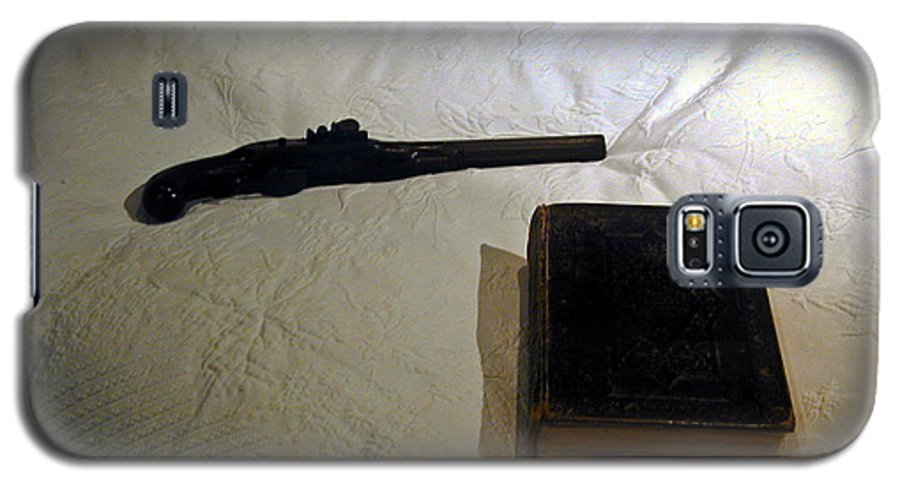 Pistol Galaxy S5 Case featuring the photograph Pistol And Bible by Douglas Barnett