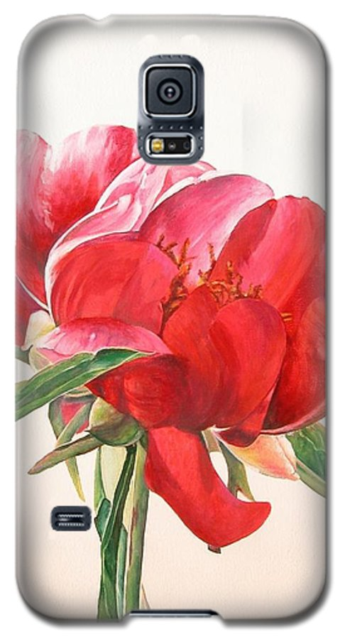 Floral Painting Galaxy S5 Case featuring the painting Pivoine 2 by Muriel Dolemieux