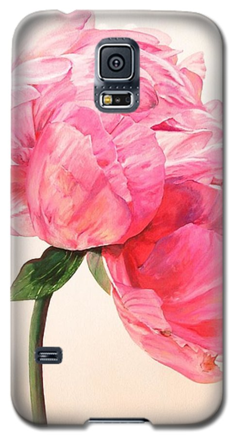 Floral Painting Galaxy S5 Case featuring the painting Pivoine 3 by Muriel Dolemieux