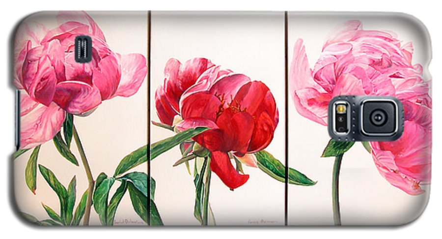 Floral Painting Galaxy S5 Case featuring the painting Pivoines by Muriel Dolemieux