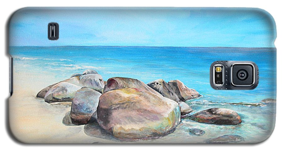 Paysage Galaxy S5 Case featuring the painting Plage by Muriel Dolemieux