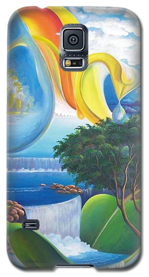 Surrealism - Landscape Galaxy S5 Case featuring the painting Planet Water - Leomariano by Leomariano artist BRASIL
