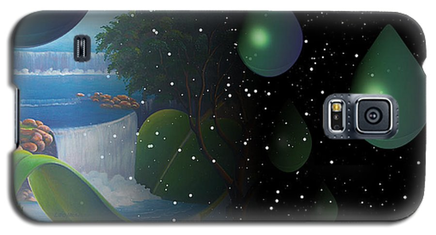 Suarrealism Galaxy S5 Case featuring the painting Planet Water by Leomariano artist BRASIL