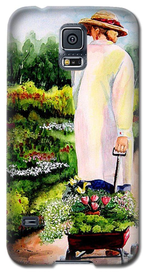 Garden Galaxy S5 Case featuring the painting Planting Plans by Karen Stark