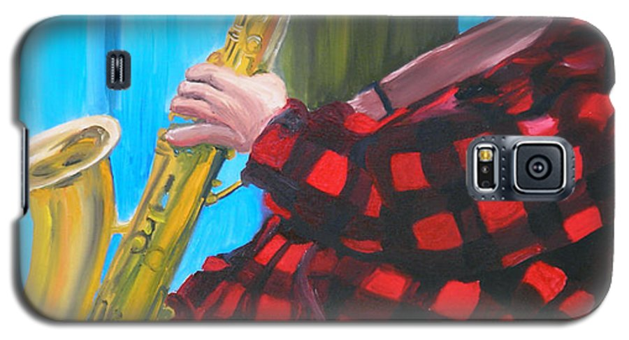 Sax Player Galaxy S5 Case featuring the painting Play It Mr Sax Man by Michael Lee