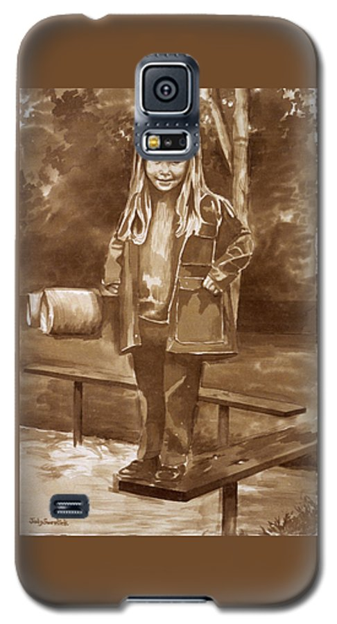 Little Girl On Bench In Park Galaxy S5 Case featuring the painting Playground 2 by Judy Swerlick