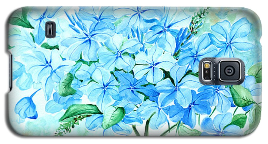 Floral Blue Painting Plumbago Painting Flower Painting Botanical Painting Bloom Blue Painting Galaxy S5 Case featuring the painting Plumbago by Karin Dawn Kelshall- Best