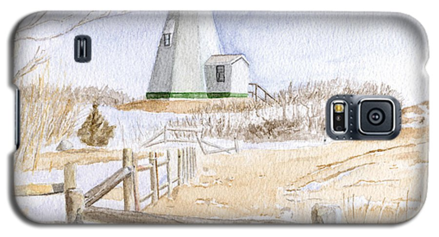 Lighthosue Galaxy S5 Case featuring the painting Plymouth Light In Winter by Dominic White
