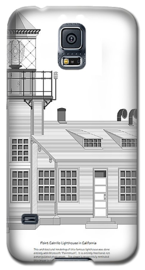 Lighthouse Galaxy S5 Case featuring the painting Point Cabrillo Architectural Drawing by Anne Norskog