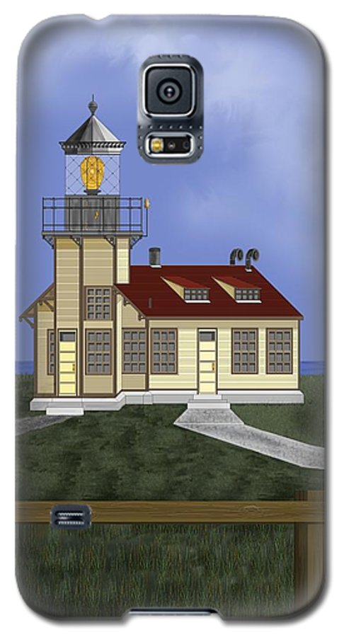Lighthouse Galaxy S5 Case featuring the painting Point Cabrillo California by Anne Norskog
