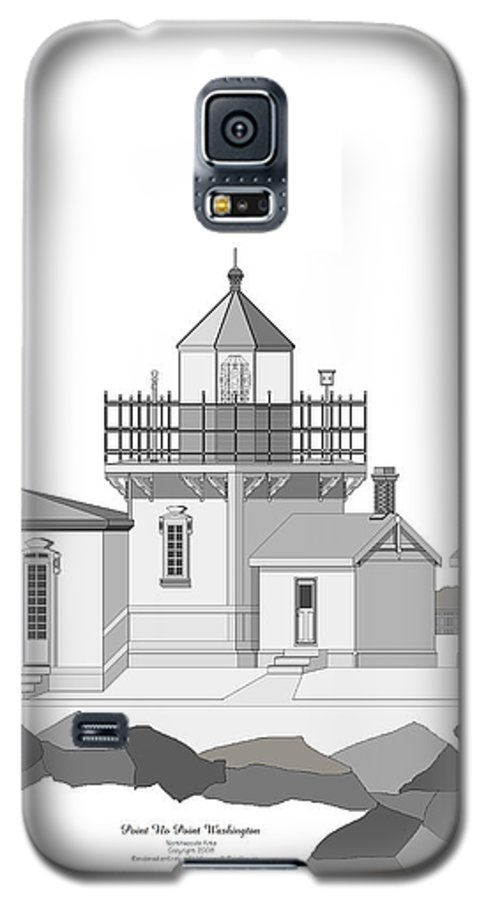 Lighthouse Galaxy S5 Case featuring the painting Point No Point As Architectural Drawing by Anne Norskog