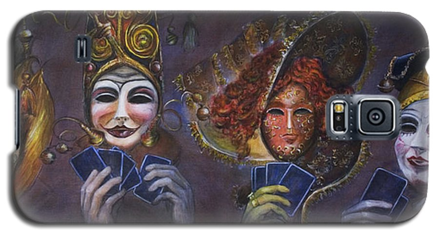 Masks Galaxy S5 Case featuring the painting Poker Face by Nik Helbig