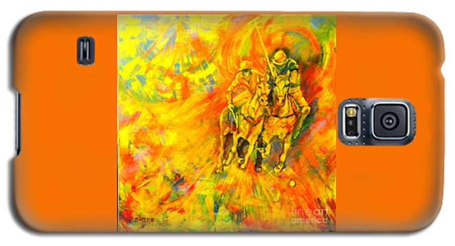 Horses Galaxy S5 Case featuring the painting Poloplayer by Dagmar Helbig