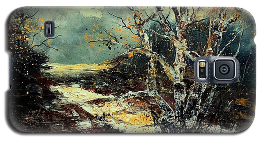 Tree Galaxy S5 Case featuring the painting Poplars 45 by Pol Ledent