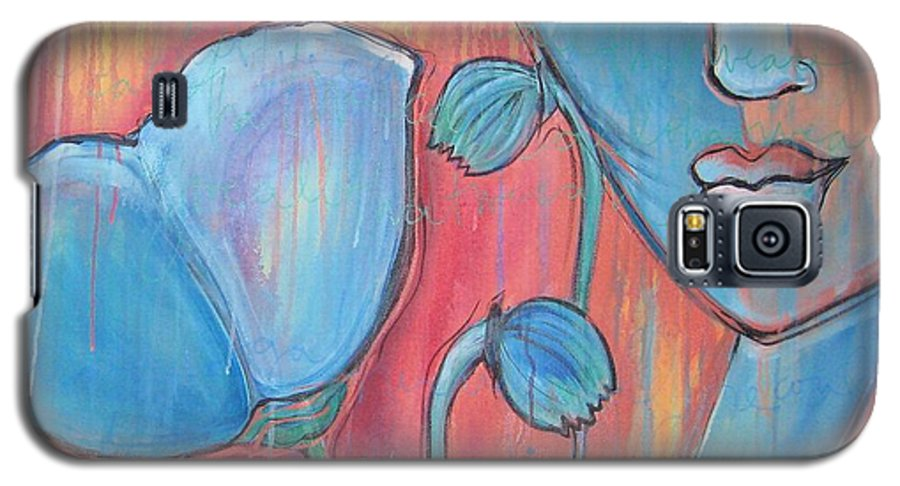 Pop Art Galaxy S5 Case featuring the painting Poppies 7 Luna Let Me Go by Laurie Maves ART