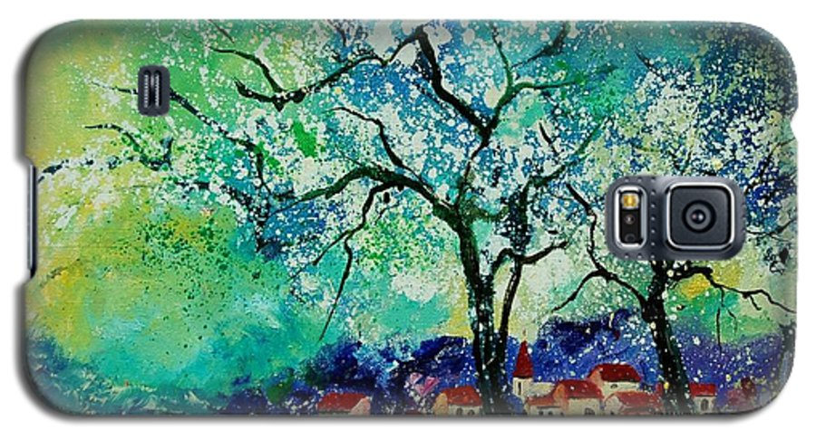 Landscape Galaxy S5 Case featuring the painting Poppies And Appletrees In Blossom by Pol Ledent