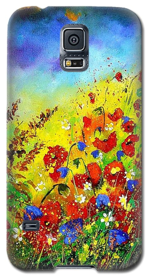 Poppies Galaxy S5 Case featuring the print Poppies And Blue Bells by Pol Ledent