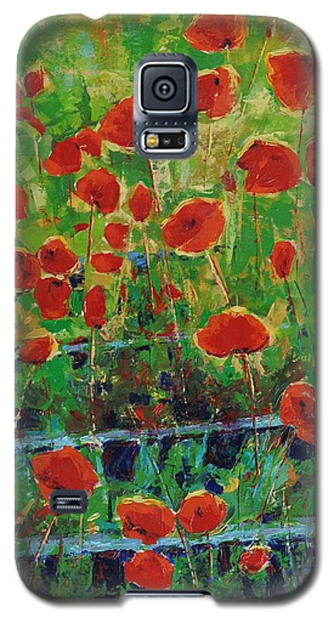 Poppies Galaxy S5 Case featuring the painting Poppies And Traverses 1 by Iliyan Bozhanov